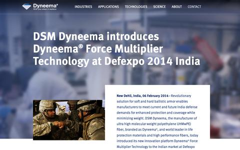 Screenshot of Press Page dsm.com - DSM Dyneema introduces Dyneema® Force Multiplier Technology - captured Jan. 1, 2019