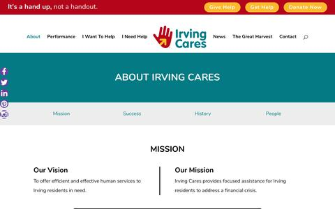 Screenshot of About Page irvingcares.org - About Irving Cares - Irving Cares - captured June 8, 2017