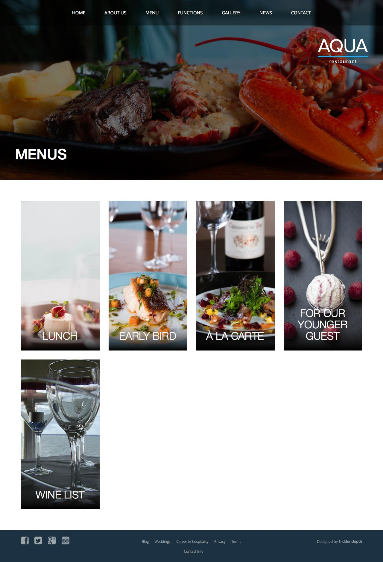 Screenshot of aqua.ie - Menus - Aqua Restaurant - captured Feb. 6, 2016