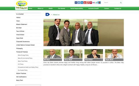 Screenshot of About Page bidco-oil.com - About us | Bidco - captured Oct. 4, 2014
