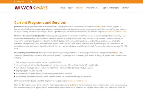 Screenshot of Services Page workways.com.au - Our Services - Workways Australia - captured Dec. 3, 2016