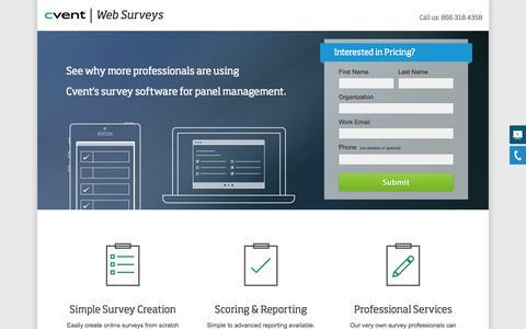Screenshot of Landing Page cvent.com - Panel Management | Cvent - captured Oct. 27, 2014