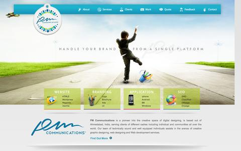 Screenshot of Home Page pmcommu.com - Best Website, Graphic, Mobile Designing and development Company Ahmedabad, India - captured Sept. 11, 2015
