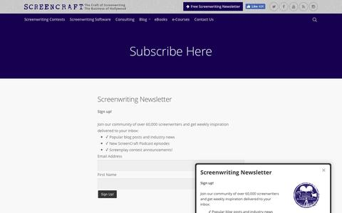 Screenshot of Signup Page screencraft.org - ScreenCraft Screenwriting Newsletter - ScreenCraft - captured Aug. 15, 2016