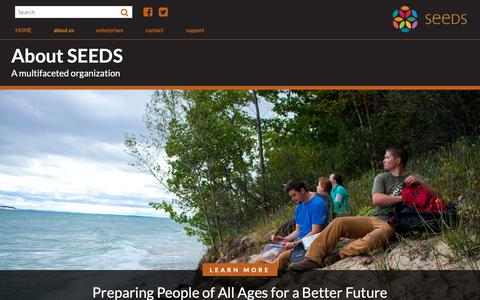 Screenshot of About Page ecoseeds.org - SEEDS: About Nonprofit Traverse City Michigan - captured Oct. 1, 2018