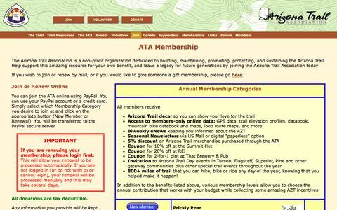 Screenshot of Signup Page aztrail.org - ATA - Membership - captured Nov. 21, 2016
