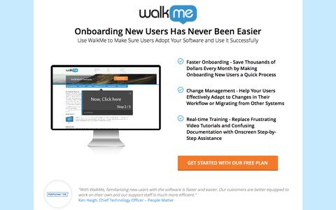 Screenshot of Landing Page walkme.com - Onboarding New Users Has Never Been Easier - captured Nov. 30, 2016