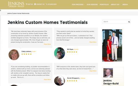 Screenshot of Testimonials Page newhousebuilder.com - Jenkins Custom Homes Testimonials - captured Nov. 26, 2016