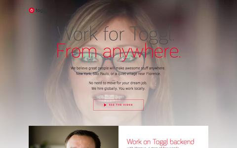 Screenshot of Jobs Page toggl.com - Toggl Jobs, Open Positions, Startup Hiring - captured Oct. 28, 2015