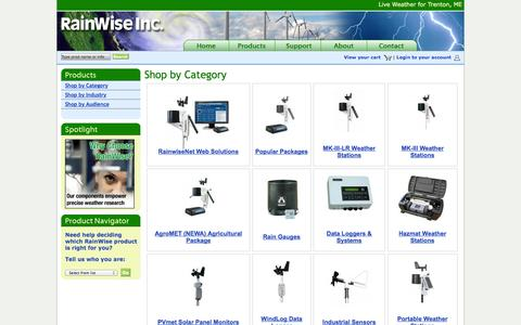 Screenshot of Products Page rainwise.com - Shop by Category | RainWise - captured Nov. 1, 2014