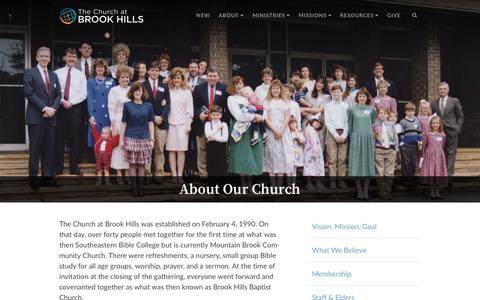 Screenshot of About Page brookhills.org - The Church at Brook Hills · About - captured Nov. 16, 2018