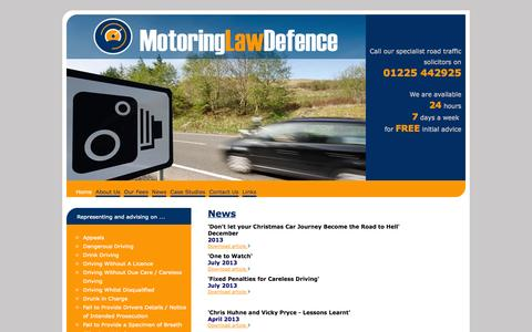 Screenshot of Press Page motoringlawdefence.com - News l Motoring Offence Lawyers l Road Traffic Solicitors in the South West l Bath and Bristol Solicitors l Motoring Law Defence - captured Oct. 7, 2014