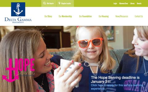 Screenshot of Home Page deltagamma.org - Delta Gamma - captured Jan. 21, 2015