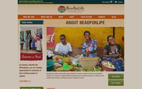 Screenshot of About Page beadforlife.org - About BeadforLife - Non-Profit, Fair Trade Organization - captured Nov. 22, 2016