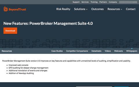 Screenshot of Team Page beyondtrust.com - New Features: PowerBroker Management Suite 4.0 | BeyondTrust - captured Jan. 3, 2020
