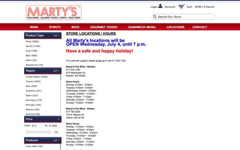 Screenshot of Contact Page Locations Page martysfinewine.com - Marty's Fine Wines Contact Us - captured July 3, 2018