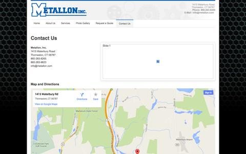 Screenshot of Contact Page metallon.com - Contact Us | Metallon, Inc. - captured Oct. 27, 2014