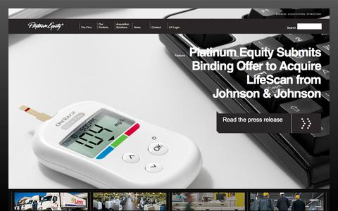 Screenshot of Home Page platinumequity.com - Platinum Equity: Mergers, Acquisitions, and Operations - Platinum Equity: Mergers, Acquisitions, and Operations. - captured May 2, 2018