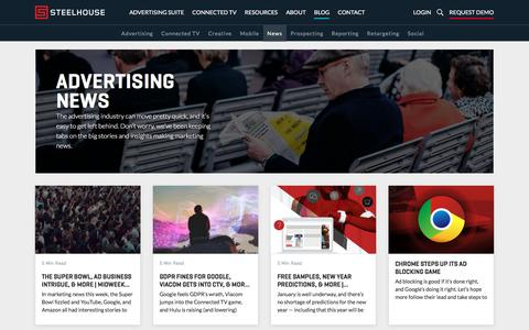 Screenshot of Press Page steelhouse.com - Advertising Industry News & Research - SteelHouse - captured July 20, 2019
