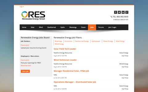 Screenshot of Jobs Page renewableenergystreet.com - Renewable Energy Jobs - Search the Clean and Green Jobs Board - captured Oct. 26, 2014