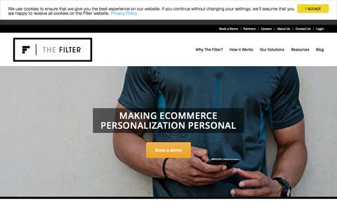 Screenshot of thefilter.com - eCommerce Personalized CX - The Filter - Journey Optimization - captured Feb. 4, 2017