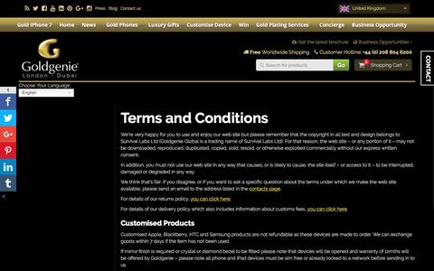 Screenshot of Terms Page goldgenie.com - Terms and Conditions | Luxury 24k Gold Customisation - captured Sept. 26, 2016