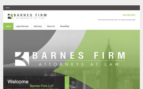 Screenshot of Home Page barnesattorneys.com - Barnes Firm LLP | Family Law and Real Estate Attorneys in Atlanta, Georgia - captured Oct. 10, 2017