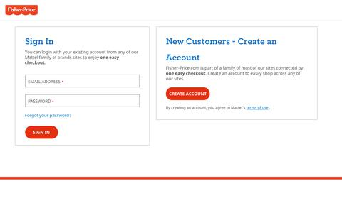 Screenshot of Login Page mattel.com - Sign In - captured Aug. 12, 2019