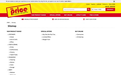 Screenshot of Site Map Page mrprice.ie - Sitemap | Mr Price - captured Feb. 22, 2016
