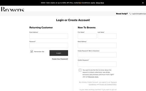 Screenshot of Login Page brownsfashion.com - Men's & Women's Designer Fashion | Browns - captured June 15, 2019