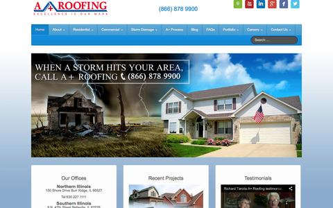 Screenshot of Home Page aplsroofing.com - A+ Roofing - Call toll free 866-878-9900 - captured Oct. 3, 2014