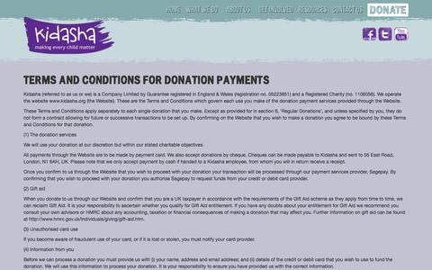 Screenshot of Terms Page kidasha.org - Terms and conditions for donation payments - Kidasha - captured June 9, 2017