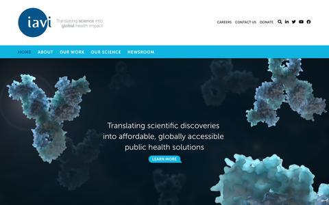 Screenshot of Home Page iavi.org - Home - IAVI - captured Jan. 17, 2020