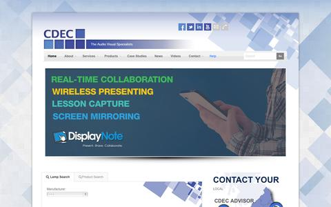 Screenshot of Services Page cdec.co.uk - CDEC - The Audio Visual Solutions Specialists - captured Nov. 1, 2014