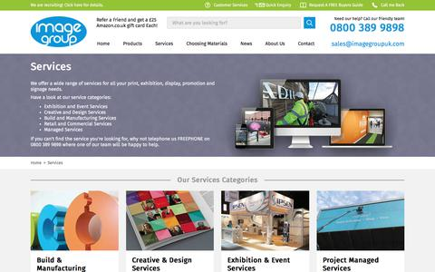 Screenshot of Services Page imagegroupuk.com - Services - The Image Group Manchester - captured Sept. 18, 2017