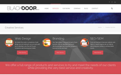 Screenshot of Services Page blackdoorcreative.com - Rhode Island and Boston Creative Services Company : Web Design - captured Sept. 30, 2014