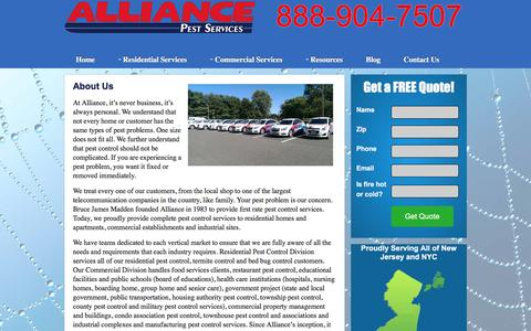 Screenshot of About Page alliancepestservices.com - About Alliance Pest Services | New Jersey Pest Control - captured July 25, 2016