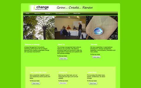 Screenshot of Home Page ichange.co.nz - ichange Management Consultants - captured Oct. 6, 2014