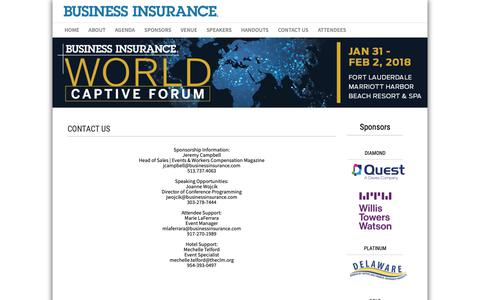 Screenshot of Contact Page businessinsurance.com - Contact - World Captive Forum 2018 - Conferences | Business Insurance - captured Oct. 22, 2018