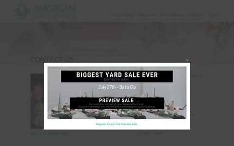 Screenshot of Contact Page americanpartyrentals.com - Contact Us | American Party Rentals - captured July 8, 2019