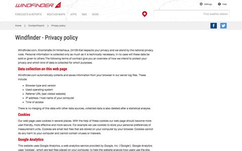 Screenshot of Privacy Page windfinder.com - Windfinder - Privacy policy - captured Dec. 3, 2015