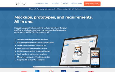 Screenshot of Landing Page irise.com - iRise | Mockups, prototypes, and requirements. All in one. - captured Dec. 29, 2017