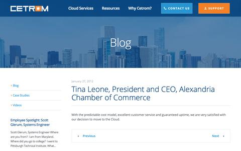 Screenshot of Testimonials Page cetrom.net - Tina Leone, President and CEO, Alexandria Chamber of Commerce - Cetrom Information Technology, Inc. - captured Nov. 30, 2018