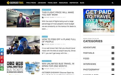Screenshot of Blog backpackertravel.org - Travel Blog - Backpacker Travel - captured Oct. 29, 2014
