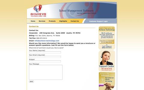 Screenshot of Contact Page achieve-technology.com - Contact Achieve Technology   Achieve Technology - captured Sept. 30, 2014