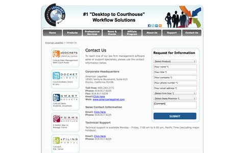 Screenshot of Contact Page alncorp.com - Law Firm Calendar, Case Tracking, American LegalNet, Contact Us - captured Oct. 3, 2014