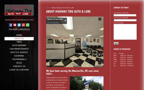 Screenshot of About Page highwaytirelkn.com - About Highway Tire Auto & Lube   Mooresville, NC - captured Aug. 14, 2017