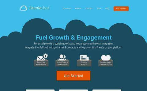 Screenshot of Home Page shuttlecloud.com - ShuttleCloud - Cloud Data Migration and Management - captured July 17, 2014