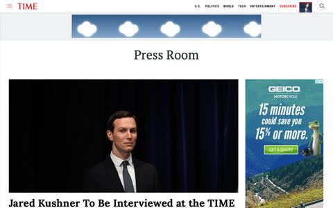 Screenshot of Press Page time.com - Press Room | Time - captured June 1, 2019