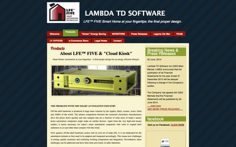 Screenshot of Products Page lambdatdsoftware.com - Products | LAMBDA TD SOFTWARE | Press Release - 02/14/2013 - captured Sept. 26, 2014